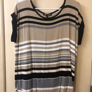 Stripe high/low blouse